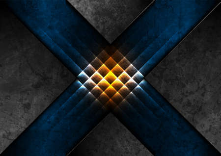Grunge neon glowing blue orange abstract geometric background. Vector graphic design