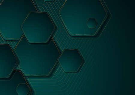 Turquoise and golden abstract tech geometric background with hexagons. Technology vector design