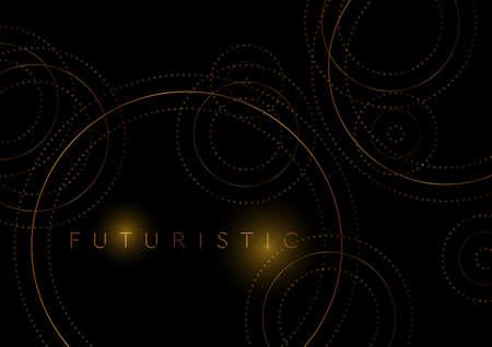 Luxury golden circles abstract geometric tech background. Vector design Vectores