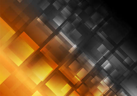 Golden and black contrast glossy squares abstract background. Technology vector design