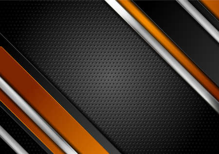 Technology orange and black abstract background with metallic stripes and perforated texture. Vector geometric design