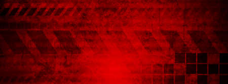 Dark red abstract geometric technology grunge banner. Vector background