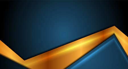 Blue and golden smooth abstract corporate vector background Vectores