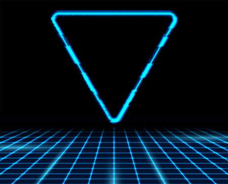 Retro futuristic 80s - 90s abstract hi-tech neon background with blue triangle. Vector poster design
