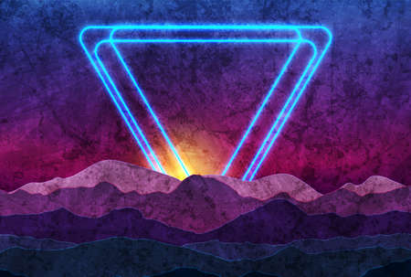 Retro nature abstract background witn neon triangles and night mountains. Grunge vector graphic design
