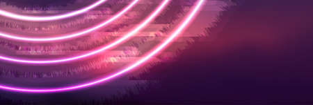 Abstract glowing banner with pink neon circles. Hi-tech futuristic vector background Vectores