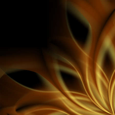Golden smooth abstract waves on black background. Vector graphic design