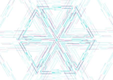 Blue purple hexagonal linear shape abstract futuristic tech background. Vector design Vectores