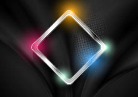 Abstract glossy shiny metallic square tech geometric background. Vector design