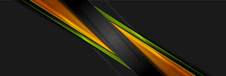 Futuristic glossy orange and green stripes. Abstract tech graphic banner design. Vector corporate background