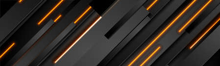 Abstract black stripes with orange neon glowing light. Vector technology banner design