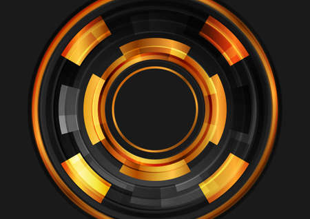 Black and golden glossy circles gears abstract tech background. Vector futuristic design