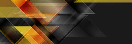 Black and golden glossy triangles abstract technology background. Geometric vector design