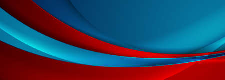Blue and red abstract glossy waves corporate background. Futuristic wavy vector banner design