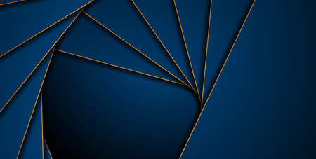 Dark blue corporate abstract background with golden lines. Vector design