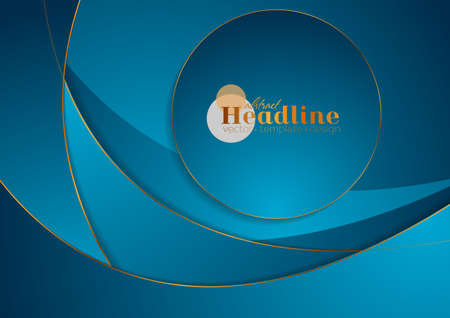 Blue and bronze corporate wavy background with circle. Vector graphic design Vectores