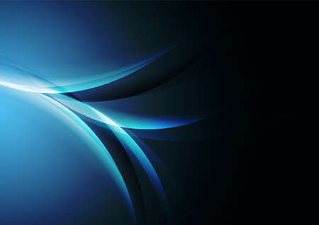 Dark blue shiny glossy flowing waves abstract background. Elegant vector design Vectores