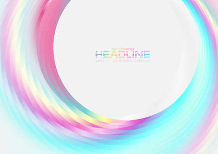 Holographic glossy circles geometric abstract tech background. Vector art colorful design
