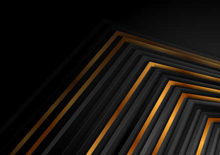 Black and luxury golden curved stripes abstract geometric