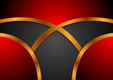 Black and red abstract tech corporate with bronze curved stripes.