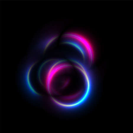 Blue and purple neon glowing smooth circles abstract background. Vector futuristic design