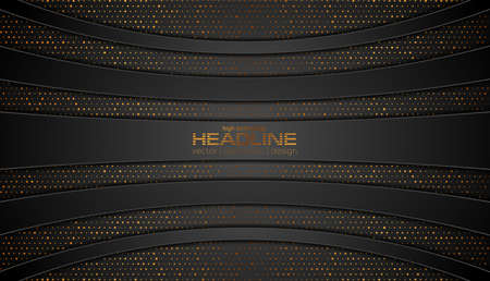 Black technology geometric background with golden dots and lines. Vector design