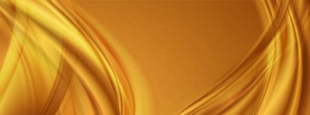 Golden smooth blurred waves abstract background. Vector banner design