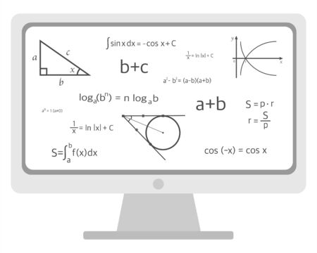online training in geometry algebra on a white background. vector illustration