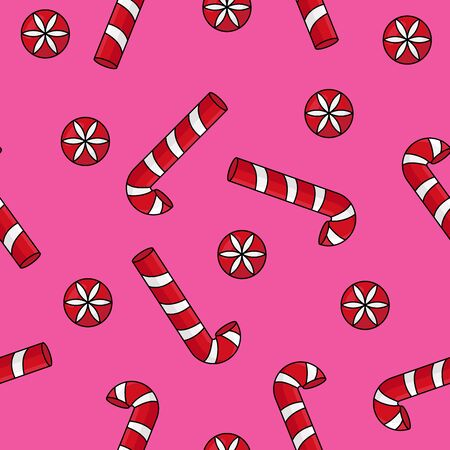 Christmas background with holly and candy cane Ilustracja