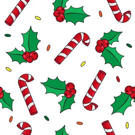 Christmas background with holly, candy cane, vector Ilustração