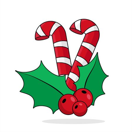 candy cane with Holly. vector Illustration of a candy cane
