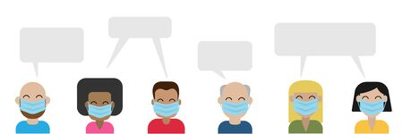 opinion of a group of people in medical masks, people on a white background vector 일러스트