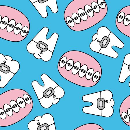 Seamless pattern with tooth, braces. Vector teeth background