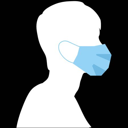white silhouette in a medical mask, vector Stock Illustratie