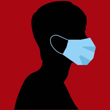 a black silhouette on a red background wearing a medical mask. Stock Illustratie