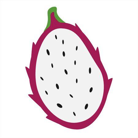 Dragon fruit. Half a sliced exotic fruit.