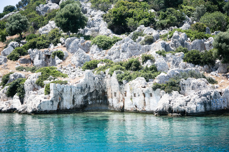 the sunken: Fragment of ancient sunken city of Kekova view from sea with remains of ancient buildingsp