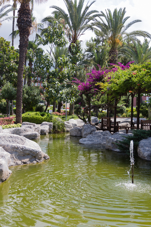 Beautiful artifficial pond with park palm trees and bougenvilles around portrait layout