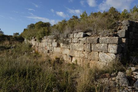 ancient stone wall in Syedra city of Alanya province in Turkey Stock Photo