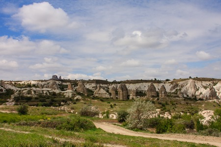 geological formation: Horizontal shot of fairy chimneys of Cappadocia in Turkey in spring with green grass and small trees shot on cloudy days Stock Photo