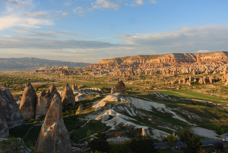 Horizontal shot of valley with fairy chimneys in Cappadocia
