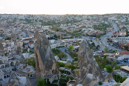 Landscape of Goreme villae of Cappadocia with fairy chimneys and stone houses