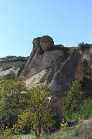 geological formation: vertical shot of landscape of  Cappadocia in spring