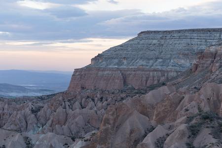 Horiziontal shot of rocky landscape of Cappadocia in Turkey