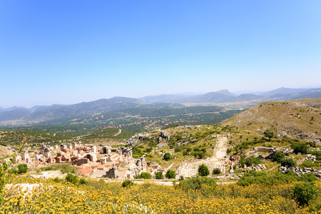 view of ancient city of Sagalassos with mountains on background