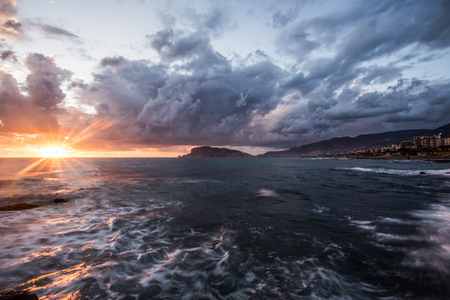 Long exposure and sunset seascape of Mediterranean town Alanya in Turkey