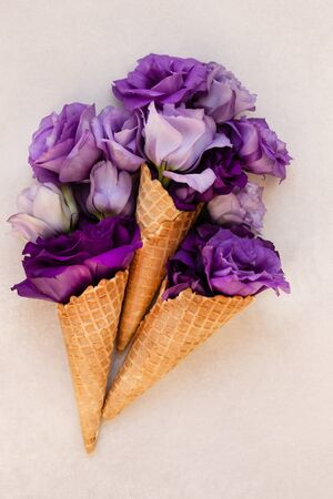 Summer or spring concept. Ice-cream cone with flowers