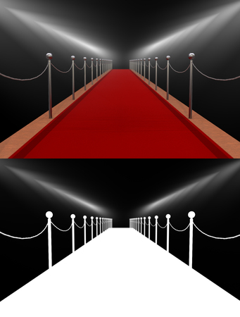 Red carpet, rewarding, spotlights. Isolated. 3D illustration