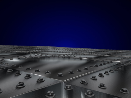 rivets: Metal plates bolted, leaving the prospect of a dark blue background. 3D illustration Stock Photo