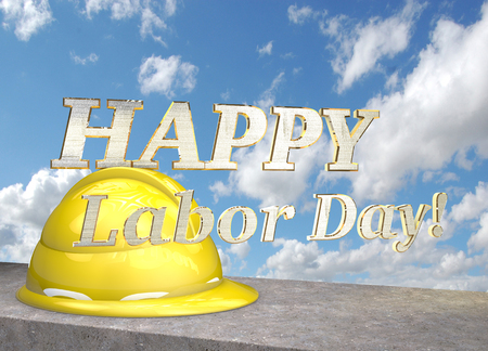 concrete block: Happy labor day. Helmet on the concrete block on a background of clouds. 3D illustration